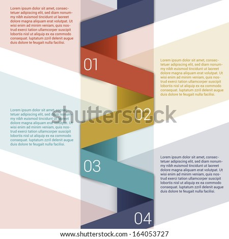 Modern Design Minimal style infographic template layout. Infographics, numbered banner, horizontal cutout lines, graphic or website layout vector. - stock vector