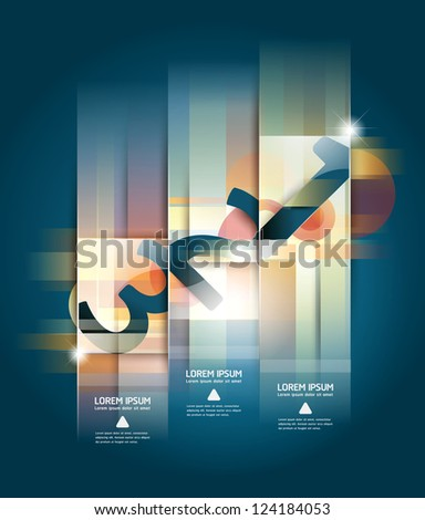 Modern Design number template / can be used for infographics / numbered banners / horizontal cutout lines / graphic or website layout vector - stock vector
