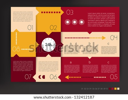 Modern design speech  diagram for infographic. Vector numbered banners template in warm colors. - stock vector