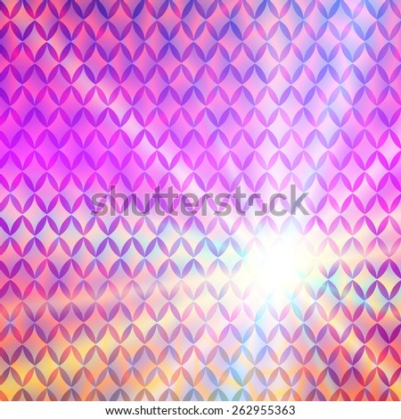 Modern Design style on purple background with digital rhombus effect. Blurry gradient glow light. Vector illustration EPS 10 for wellness theme booklet template, flyer party dance club, festive event - stock vector