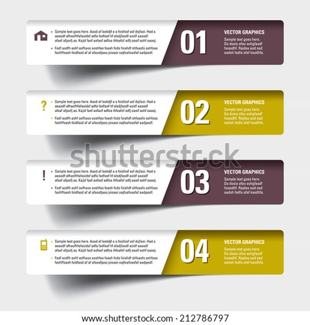 Modern Design Template  for Infographics. Numbered Banners. - stock vector