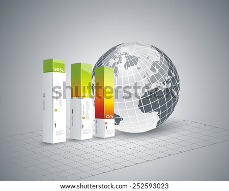 Modern Design template Infographic with Globe. Vector. - stock vector