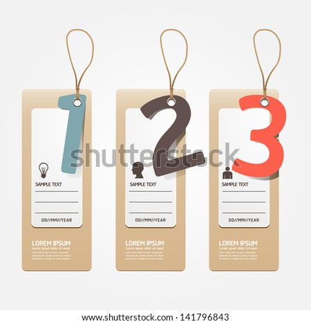 Modern Design template paper tag style/ can be used for infographics / numbered banners / horizontal cutout lines / graphic or website layout vector - stock vector
