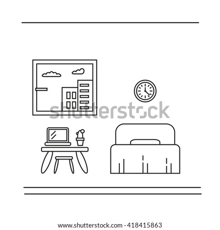 Modern designer work space, linear style. Bedroom interior. Can be used for infographics design, web elements - stock vector