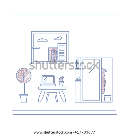 Modern designer work space, linear style. Living room vector illustration. Can be used for infographics design, web elements - stock vector
