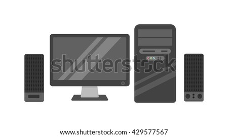 Modern desktop computer with wireless keyboard and desktop computer vector flat illustration. Desktop computer technology screen monitor and office wide wireless communication desktop computer. - stock vector