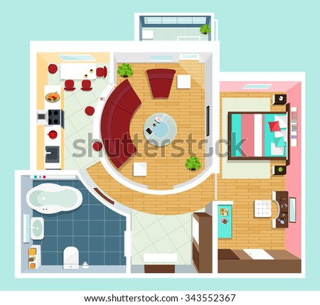 Modern detailed floor plan for apartment with furniture. Top view of apartment. Vector flat projection. - stock vector