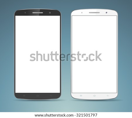 Modern detailed realistic smartphone, cellphone vector mockup set. Black and white mobile phones. Bright white blank screen. Isolated on neutral blue background - stock vector