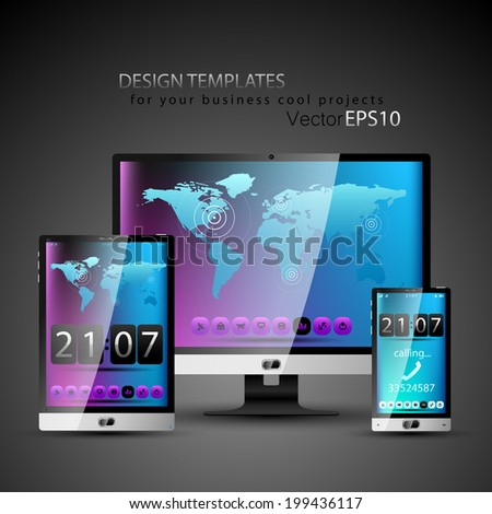Modern devices design templates for your cool business projects. - stock vector