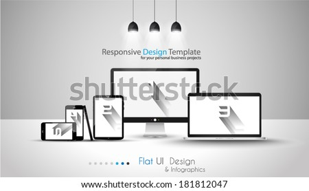 Modern devices mockups for your business projects.  - stock vector