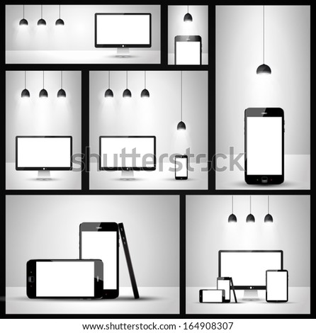 Modern devices mockups fpr your business projects. - stock vector