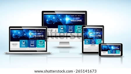 Modern devices with web design template. Vector illustration - stock vector