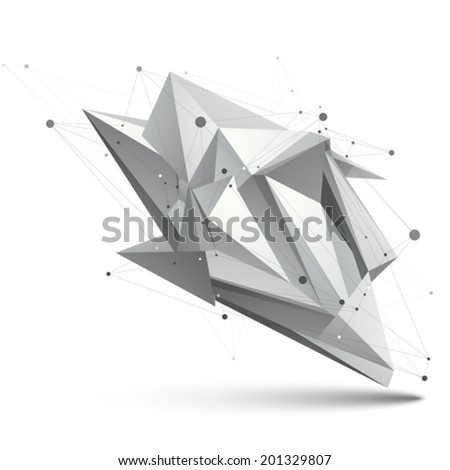 Modern digital technology style, abstract unusual background, vector spatial tech complicated 3d figure. - stock vector