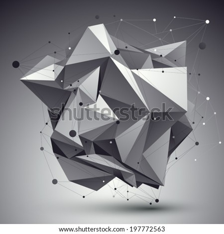 Modern digital technology style, abstract unusual cybernetic background, vector tech complicated 3d figure placed over contrast backdrop. - stock vector