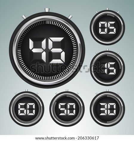 Modern digital timer - stopwatch vector set  - stock vector