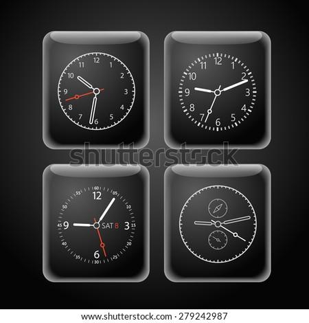 Modern digital watch dials template - stock vector