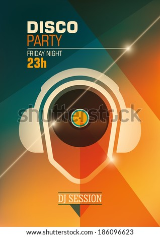 Modern disco party poster. Vector illustration. - stock vector