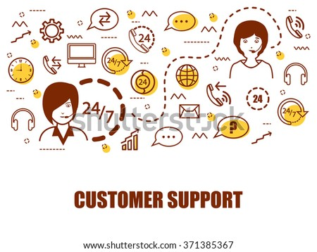 Modern doodle and line art style illustration for Customer Support, Online Call Center or Customer Care Services.Can be used as Web Banner, Online Tutorials, Printed or Promotional Materials. - stock vector