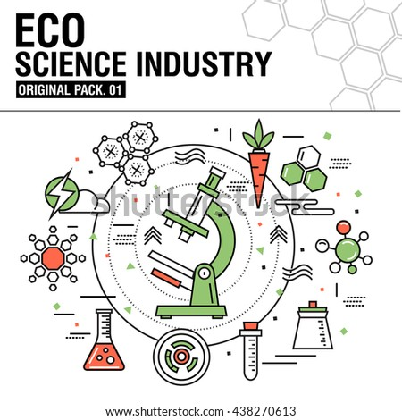Modern eco science industry. Thin icons set bio technology. Natural organic factory set collection with global industry elements. Premium quality outline symbol. Stroke pictogram concept for design. - stock vector