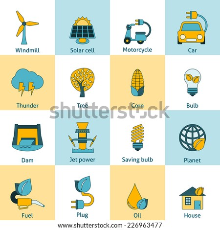 Modern ecologically sustainable energy saving systems flat line icons set with solar cell abstract isolated vector illustration - stock vector