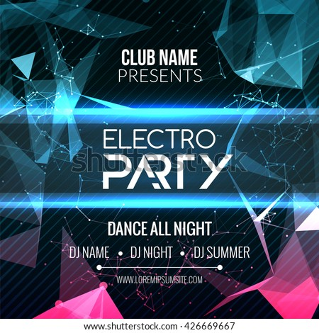 Modern Electro Party Template, Dance Party Flyer, brochure. Night Party Club Banner Poster - stock vector