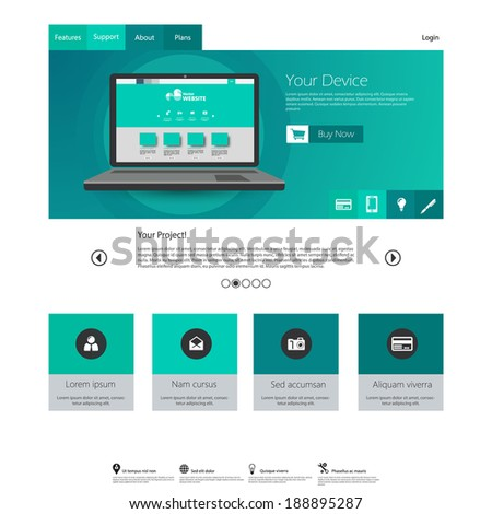Modern elegant Flat Minimalist Website Template Design  - stock vector