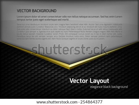 Modern elegant layout. Gold arrow between gray and black spaces. Version with sample text. You can find version without sample text in my gallery. - stock vector