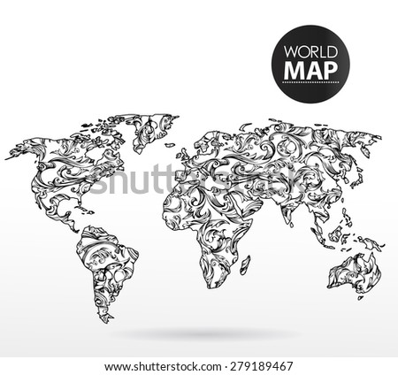 Modern elements of info graphics. Calligraphic World Map  - stock vector
