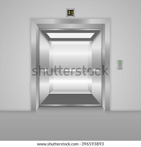 Modern elevator with open doors, metal doors, silver elevator, shiny elevator. Vector illustration - stock vector