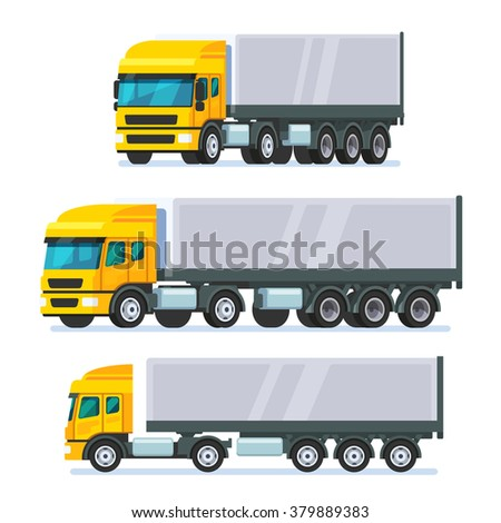 Modern European standard flat nose articulated lorry truck. Modern flat style vector illustration isolated on white background. - stock vector