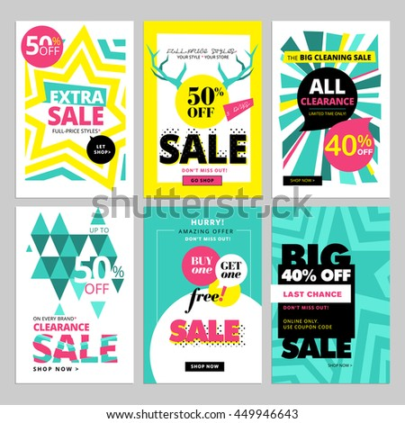 Modern eye catching social media sale banners. Vector illustrations for website and mobile website banners, posters, email and newsletter designs, ads, promotional material. - stock vector