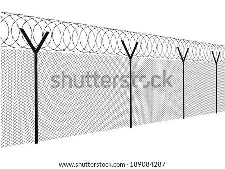 Modern fence on a white background  - stock vector