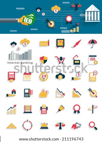 Modern Finance and money icon concepts in flat design for web, mobile applications, seo optimizations, business, social networks, e-commerce,planning and teamwork - stock vector