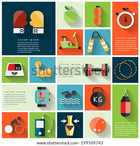 Modern fitness colorful flat icons with long shadow .Vector Design - stock vector