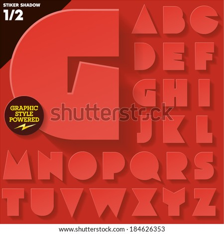 Modern flat alphabet for infographics with long ambient shadow. Sticker style Red  Upper case  - stock vector