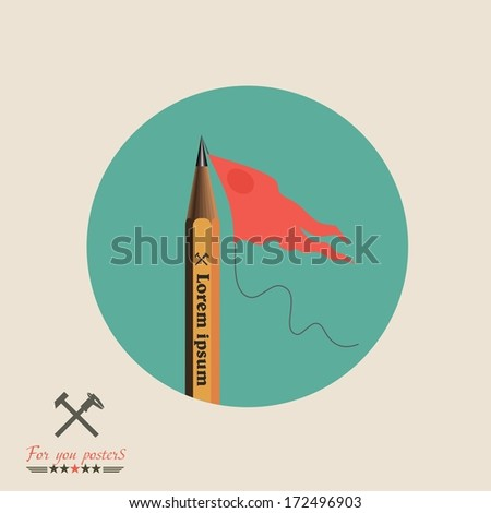 Modern flat banner with pencil and flag / can be used for infographics / banners / concept vector illustration - stock vector