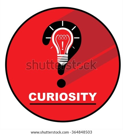 Modern flat circle icon vector with long shadow effect.  conceptual vector illustration of curiosity. Question mark, light bulb and exclamation mark; isolated on the red circle. - stock vector
