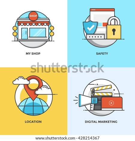 Modern flat color line designed concepts icons for My Shop, Safety, Location and Digital Marketing. Can be used for Web Project and Applications. Vector Illustration - stock vector