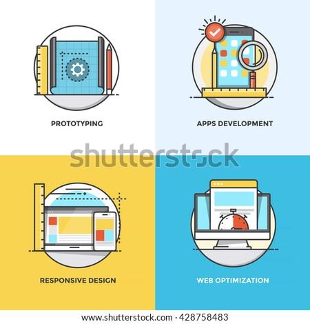Modern flat color line designed concepts icons for Prototyping, Apps Development, Responsive Design and Web Optimization. Can be used for Web Project and Applications. Vector Illustration - stock vector