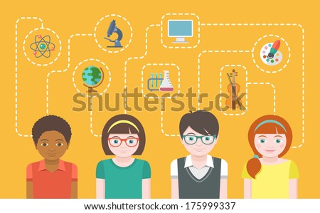 Modern flat conceptual banner of group of kids with icons of different Interests. Education and Training in primary and secondary school.  - stock vector