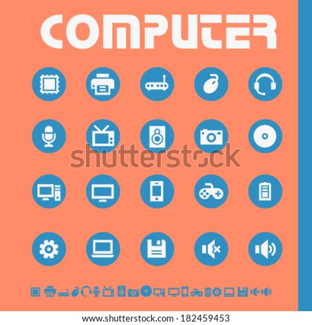 Modern flat design computer icons, bright on circles - stock vector