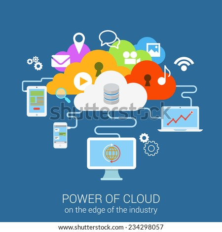 Modern flat design concept power of secure cloud services device computer tablet phone. Vector web banner template illustration. Website click infographics elements collection. Media files data icons. - stock vector