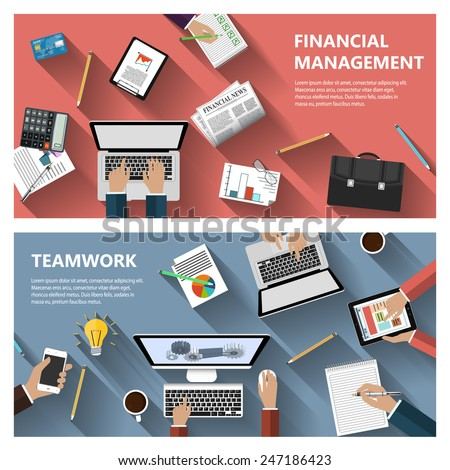 Modern flat design financial menagement and teamwork concept  for e-business, web sites, mobile applications, banners, corporate brochures, book covers, layouts etc. Vector eps10 illustration - stock vector