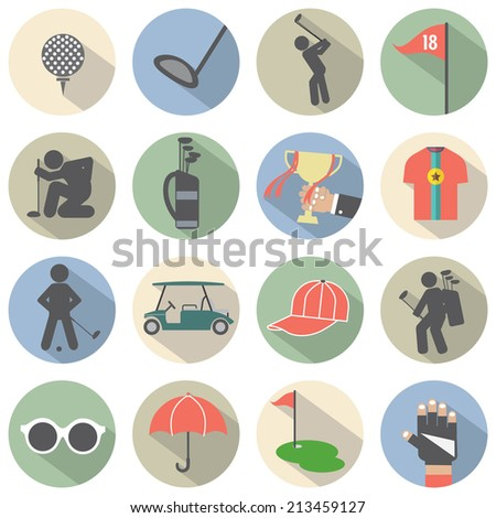 Modern Flat Design Golf Icon Set Vector Illustration - stock vector