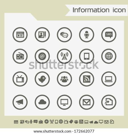 Modern flat design information icons, on circles - stock vector