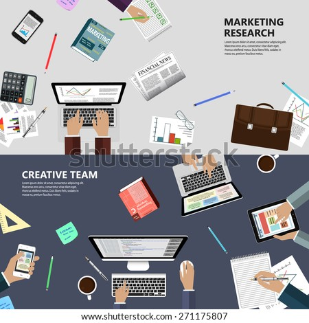 Modern flat design marketing research and creative team concept  for e-business, web sites, mobile applications, banners, corporate brochures, book covers, layouts etc. Vector eps10 illustration - stock vector