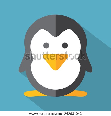 Modern Flat Design Penguin Icon Vector Illustration - stock vector