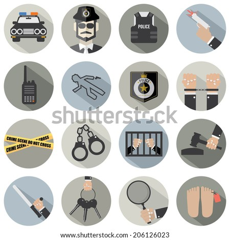 Modern Flat Design Police And Law Icon Set - stock vector