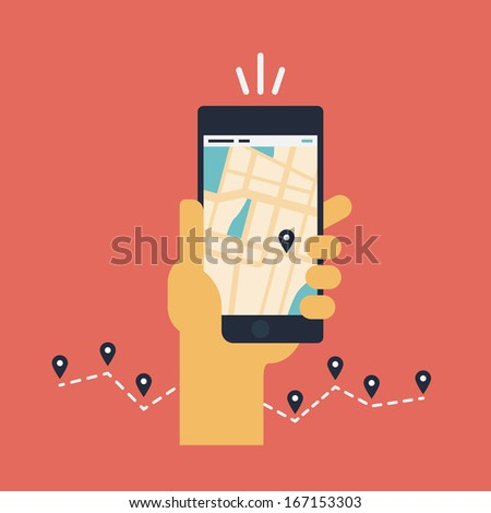 Modern flat design vector illustration concept of man holding smartphone with mobile gps navigation on a screen and route with check-in symbols. Isolated on red background - stock vector