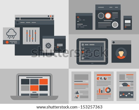 Modern flat design vector illustration icons set of buttons, forms, tabs, sliders and other navigation and infographic elements for website user interface. Isolated on gray background - stock vector